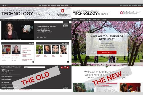 old and new versions of asctech website