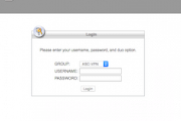 Screenshot of ASC VPN login webpage