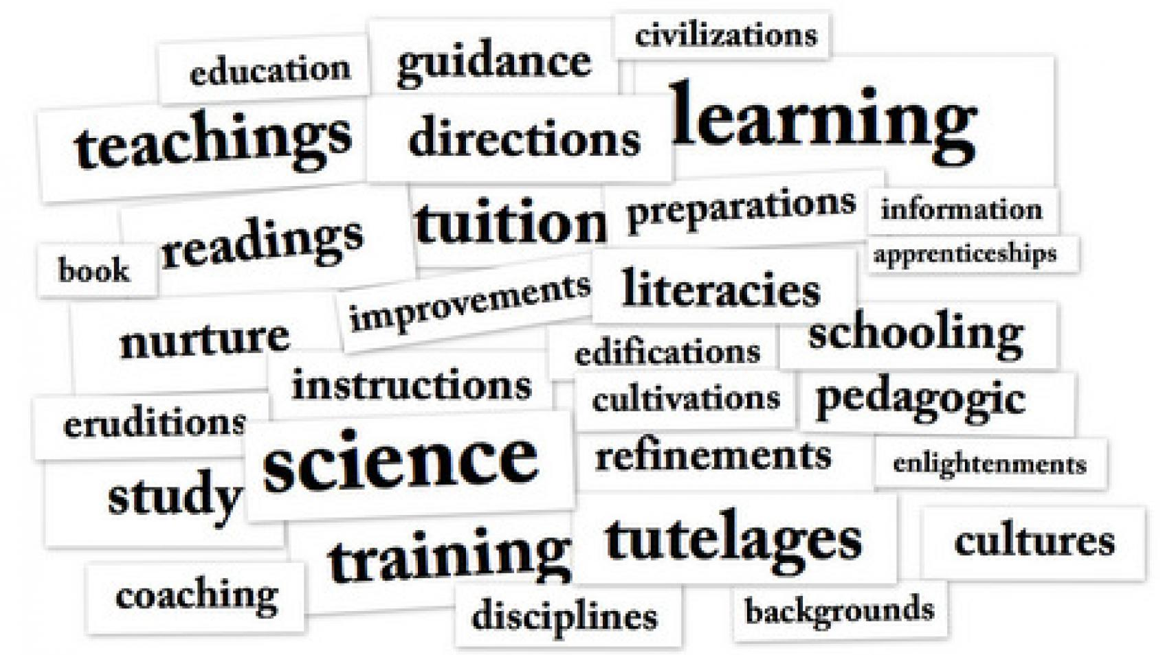 Collage of words similar to pedagogy